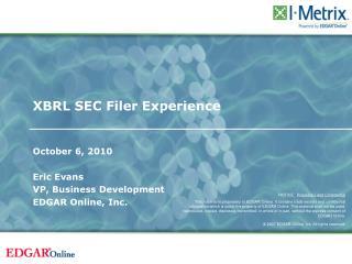 XBRL SEC Filer Experience