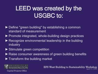 LEED was created by the USGBC to: