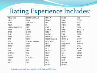 Rating Experience  Includes: