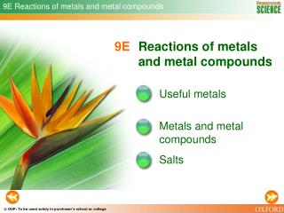 9E Reactions of metals and metal compounds