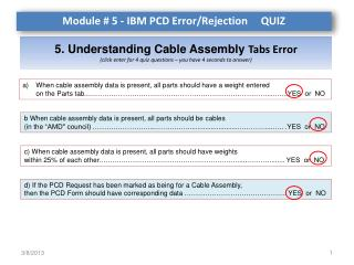 5. Understanding Cable Assembly  Tabs Error