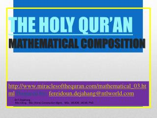 THE HOLY QUR'AN  MATHEMATICAL COMPOSITION