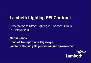 Lambeth Lighting PFI Contract