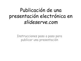 Publicación de una presentación electrónica