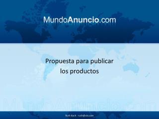 Propuesta para publicar  los productos