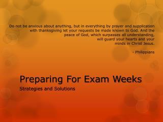 Preparing For Exam Weeks
