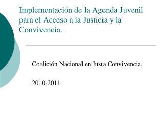 Implementación de la Agenda Juvenil para el Acceso a la Justicia y la Convivencia.