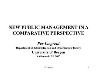 NEW PUBLIC MANAGEMENT IN A COMPARATIVE PERSPECTIVE