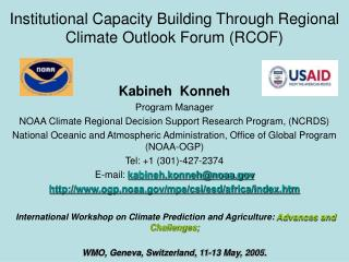 Institutional Capacity Building Through Regional Climate Outlook Forum (RCOF)