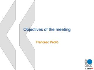 Objectives of the meeting
