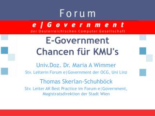 E-Government  Chancen für KMU's