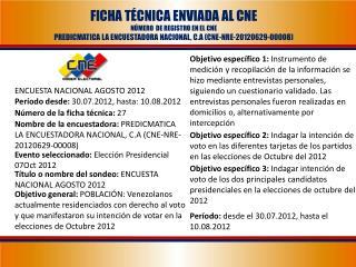 ENCUESTA NACIONAL AGOSTO 2012 Período desde:  30.07.2012, hasta: 10.08.2012