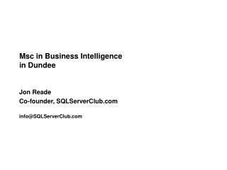 Msc in Business Intelligence