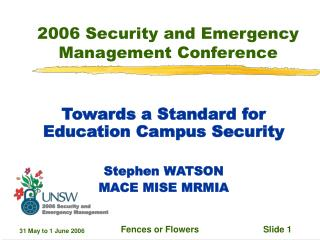2006 Security and Emergency Management Conference