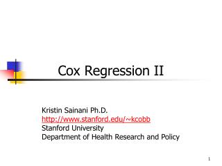 Cox Regression II