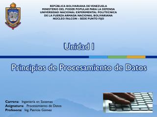 Unidad I Principios de Procesamiento de Datos