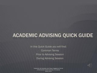 Academic Advising Quick Guide