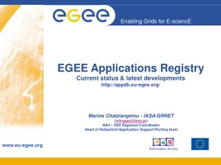 EGEE Applications Registry Current status & latest developments  appdb.eu-egee/