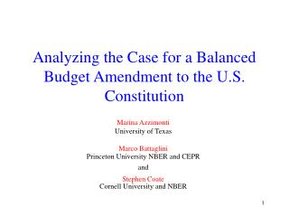 Analyzing the Case for a Balanced Budget Amendment to the U.S. Constitution