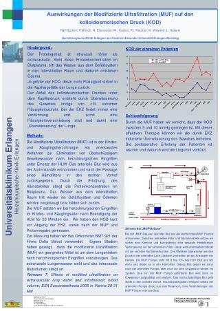 Auswirkungen der Modifizierte Ultrafiltration (MUF) auf den kolloidosmotischen Druck (KOD)