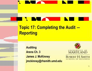 Topic 17: Completing the Audit   Reporting
