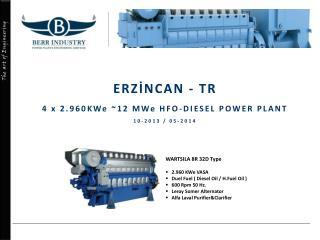 ERZİNCAN - TR 4 x 2.960KWe ~12 MWe HFO-DIESEL POWER PLANT 10-2013 / 05-2014