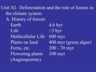 Unit XI.  Deforestation and the role of forests in the climate system.  A. History of forests  Earth    4.6 byr  Life