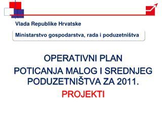 OPERATIVNI PLAN  POTICANJA MALOG I SREDNJEG PODUZETNIŠTVA ZA 2011. PROJEKTI