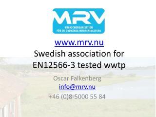 mrv.nu Swedish association for  EN12566-3 tested wwtp