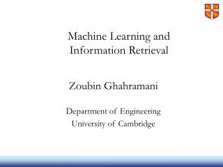 Machine Learning and  Information Retrieval