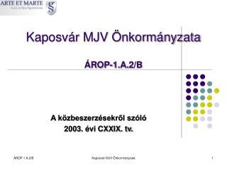 Kaposvár MJV Önkormányzata ÁROP-1.A.2/B