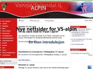 Nye nettsider for VS-alpin
