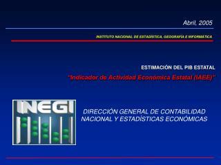 INSTITUTO NACIONAL DE ESTADÍSTICA, GEOGRAFÍA E INFORMÁTICA