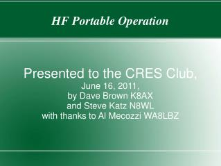 HF Portable Operation