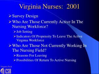 Virginia Nurses:  2001