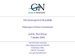 vrije  Universiteit  amsterdam FSW/werkgroep Filantropie DBL 859 De Boelelaan 1081c