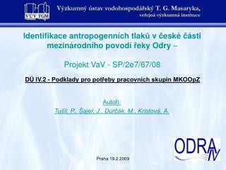 D� IV.2 - Podklady pro pot?eby pracovn�ch skupin MKOOpZ