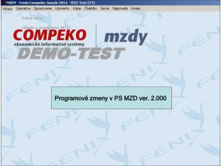 Programov é  zmeny  v PS  MZD ver. 2.000