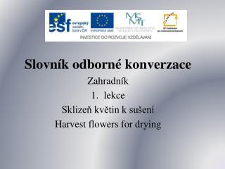 Slovník odborné konverzace Zahradník lekce Sklizeň květin k sušení Harvest flowers for drying