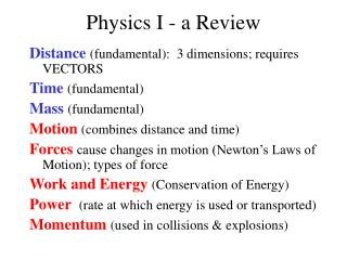 Physics I - a Review