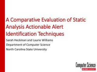 A Comparative Evaluation of Static Analysis Actionable Alert Identification Techniques
