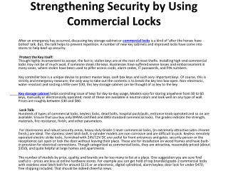Strengthening Security by Using Commercial Locks