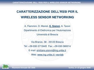 CARATTERIZZAZIONE DELL�RSSI PER IL  WIRELESS SENSOR NETWORKING