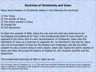 Doctrines of Christianity and Islam