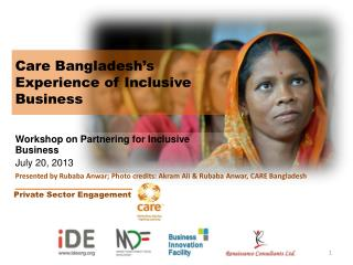 Care Bangladesh's Experience of Inclusive Business