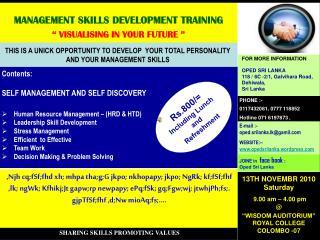 "MANAGEMENT SKILLS DEVELOPMENT TRAINING "" VISUALISING IN YOUR FUTURE """