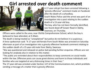 Girl arrested over death comment