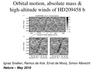 Orbital motion, absolute mass &  high-altitude winds of HD209458 b