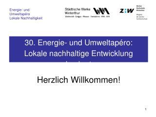30. Energie- und Umweltapéro: Lokale nachhaltige Entwicklung konkret
