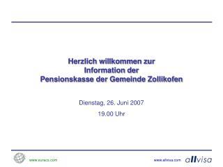 Herzlich willkommen zur Information der Pensionskasse der Gemeinde Zollikofen